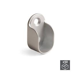 Lot de 50 supports pour barre de penderie armoire en zamak finition gris métallisé de marque EMUCA, référence: B4945500
