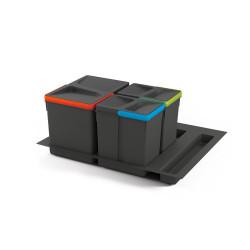 Kit de poubelles à base Recycle pour tiroir de module 600 mm  12 L, 6 L, 6L de marque EMUCA, référence: B4949400