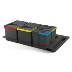 Kit de poubelles à base Recycle pour tiroir de module 900 mm  12 L, 6 L, 6L de marque EMUCA, référence: B4949500