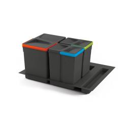 Kit de poubelles à base Recycle pour tiroir de module 600 mm  15L, 7L, 7L de marque EMUCA, référence: B4949600
