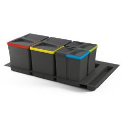 Kit de poubelles à base Recycle pour tiroir de module 900 mm 15L, 7L, 7L de marque EMUCA, référence: B4949700