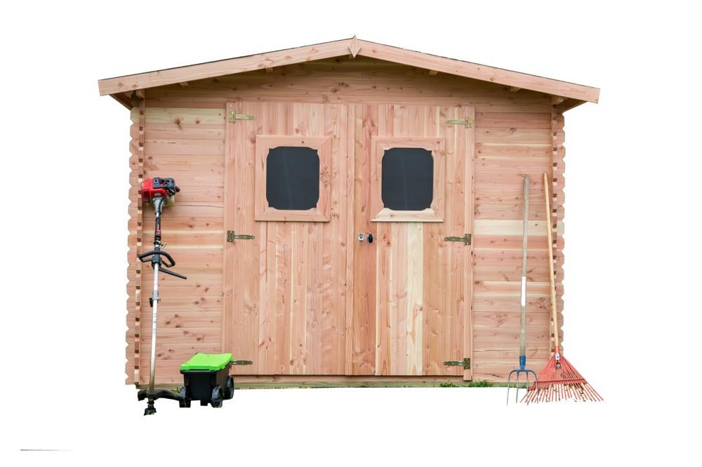 Abri DOMMAR madriers Douglas 28 mm - 10,89 m² - sans plancher - toit double pente