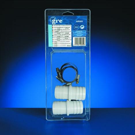 Manchons x 2 pour branchement tuyaux Ø38mm + 4 colliers Ø38mm