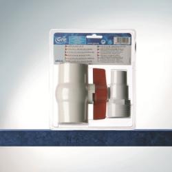 Kit vanne 1/4 de tour +  2 embouts cannelés Ø 38mm + 1 rouleau de téflon de marque GRE POOLS, référence: J645000