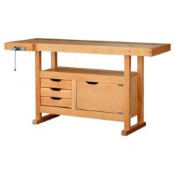 Etabli bois 1.5 x 0.5M 3 tiroirs + presse de marque OUTIFRANCE , référence: B271500