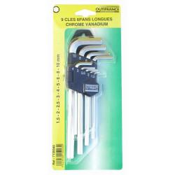 Jeu de clés 6 pans sur support, série longue de marque OUTIFRANCE , référence: B461900