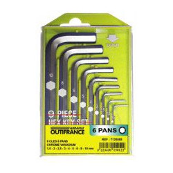 Jeu de clés 6 pans en coffret de marque OUTIFRANCE , référence: B464400