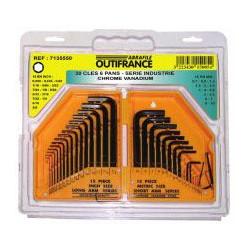 Jeu de clés 6 pans en mm et pouce de marque OUTIFRANCE , référence: B464500