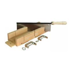 Boîte à onglet bois + scie à dos + presses de marque OUTIFRANCE , référence: B333300