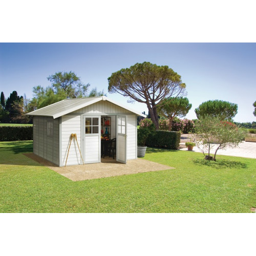 grosfillex abri de jardin pvc deco 11m gris vert. Black Bedroom Furniture Sets. Home Design Ideas